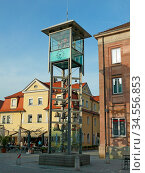 Gunzenhausen, marktplatz, uhrturm, uhr, franken, fränkisch, bayern... Стоковое фото, фотограф Zoonar.com/Volker Rauch / easy Fotostock / Фотобанк Лори