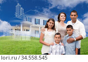 Hispanic Family with Ghosted House Drawing, Partial Photo and Rolling... Стоковое фото, фотограф Zoonar.com/Andy Dean Photography / age Fotostock / Фотобанк Лори