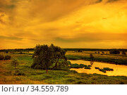 Landscape with coloful sunset in summer field. Стоковое фото, фотограф Zoonar.com/Dmitry Kushch / age Fotostock / Фотобанк Лори