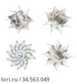 Set of Four One Hundred Dollar Bill Icon Graphic Made From Photographs... Стоковое фото, фотограф Zoonar.com/Andy Dean Photography / age Fotostock / Фотобанк Лори
