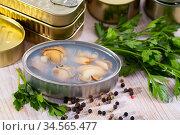 Open tin can with sea clams in its own juice. Стоковое фото, фотограф Яков Филимонов / Фотобанк Лори