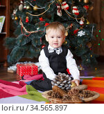 Little boy in Christmas decorations expect a miracle. Стоковое фото, фотограф Nataliia Zhekova / Фотобанк Лори