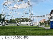 The base of a huge lattice television tower. Стоковое фото, фотограф Евгений Харитонов / Фотобанк Лори