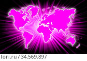 Map of world with starburst on background, pink. Стоковое фото, фотограф Zoonar.com/Micha Klootwijk / age Fotostock / Фотобанк Лори