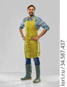 happy indian male gardener or farmer in apron. Стоковое фото, фотограф Syda Productions / Фотобанк Лори