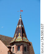 Burg, Eguisheim, kapelle, turm, burgturm, Elsaß, Egisheim, egsa, dorf... Стоковое фото, фотограф Zoonar.com/Volker Rauch / easy Fotostock / Фотобанк Лори