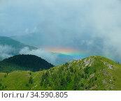 Regenbogen, gebirge, regen, berg, berge, wetter, meteorologie, bergwetter... Стоковое фото, фотограф Zoonar.com/Volker Rauch / easy Fotostock / Фотобанк Лори