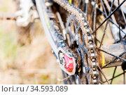 Rear wheel motorcycle trial and enduro. Mounted on the wheel gear... Стоковое фото, фотограф Zoonar.com/Ian Iankovskii / easy Fotostock / Фотобанк Лори