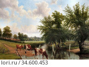 Baker of Leamington Thomas - Cows Watering - British School - 19th... Стоковое фото, фотограф Artepics / age Fotostock / Фотобанк Лори