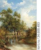 Baker of Leamington Thomas - Two Boys Fishing from a Wooden Bridge... Стоковое фото, фотограф Artepics / age Fotostock / Фотобанк Лори