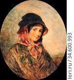 Baxter Charles - the Pretty Peasant - British School - 19th Century. Стоковое фото, фотограф Artepics / age Fotostock / Фотобанк Лори