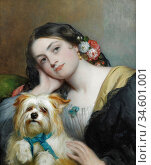 Baxter Charles - Her Favourite Pet - British School - 19th Century. Стоковое фото, фотограф Artepics / age Fotostock / Фотобанк Лори