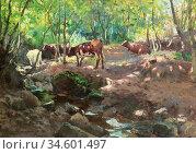 Birch Samuel John Lamorna - Cattle by a Stream - British School - ... Стоковое фото, фотограф Artepics / age Fotostock / Фотобанк Лори
