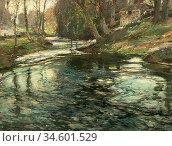 Birch Samuel John Lamorna - the Stream at Lamorna Penzance Cornwall... Стоковое фото, фотограф Artepics / age Fotostock / Фотобанк Лори