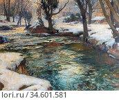 Birch Samuel John Lamorna - Winter in the West - British School - ... Стоковое фото, фотограф Artepics / age Fotostock / Фотобанк Лори
