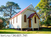 Central Tilba Church in its idyllic setting near Narooma in New South... Стоковое фото, фотограф Zoonar.com/Chris Putnam / easy Fotostock / Фотобанк Лори