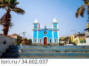 Blue church in Sao Filipe, Fogo Island, Cape Verde, Africa. Стоковое фото, фотограф Zoonar.com/Laurent Davoust / age Fotostock / Фотобанк Лори