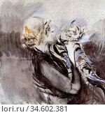 Boldini Giovanni - a Lady with a Cat - British School - 19th Century. Стоковое фото, фотограф Artepics / age Fotostock / Фотобанк Лори