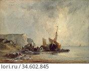 Bonington Richard Parkes - Boats near the Shore of Normandy - British... Стоковое фото, фотограф Artepics / age Fotostock / Фотобанк Лори