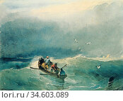 Bonington Richard Parkes - Small Fishing Rowboat in Rough Sea - British... Стоковое фото, фотограф Artepics / age Fotostock / Фотобанк Лори