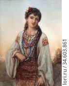 Bouvier Auguste Jules - Wallachian Girl - British School - 19th Century... Стоковое фото, фотограф Artepics / age Fotostock / Фотобанк Лори