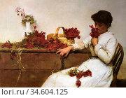 Bramley Frank - Arranging Flowers - British School - 19th Century. Стоковое фото, фотограф Artepics / age Fotostock / Фотобанк Лори