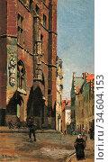 Bramley Frank - Antwerp - British School - 19th Century. Стоковое фото, фотограф Artepics / age Fotostock / Фотобанк Лори