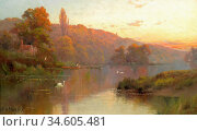 Breanski II Alfred De - Cliveden on Thames at Evening - British School... Стоковое фото, фотограф Artepics / age Fotostock / Фотобанк Лори