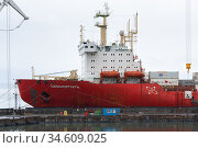 Cargo container ship nuclear-powered icebreaker Sevmorput Russian Corporation FSUE Atomflot . Container terminal commercial seaport (2019 год). Редакционное фото, фотограф А. А. Пирагис / Фотобанк Лори