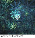 Abstract multi-colored computer generated fractal floral background. Стоковая иллюстрация, иллюстратор Alexander Tihonovs / Фотобанк Лори
