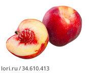 Sweet juicy peaches fruit close up. Стоковое фото, фотограф Яков Филимонов / Фотобанк Лори