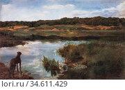 Trubner Wilhelm - Great Dane on Wessling Lake - German School - 19th... Редакционное фото, фотограф Artepics / age Fotostock / Фотобанк Лори