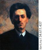 Trubner Wilhelm - Portrait of Carl Schuch - German School - 19th ... Редакционное фото, фотограф Artepics / age Fotostock / Фотобанк Лори