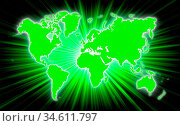 Map of world with starburst on background, green. Стоковое фото, фотограф Zoonar.com/Micha Klootwijk / age Fotostock / Фотобанк Лори