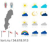 Karte von Schweden mit Wettersymbolen - Map of Sweden with weather... Стоковое фото, фотограф Zoonar.com/lantapix / easy Fotostock / Фотобанк Лори