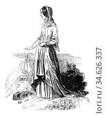 Woman Costume, 1315-1320, vintage engraved illustration. Colorful... Стоковое фото, фотограф Zoonar.com/Patrick Guenette / easy Fotostock / Фотобанк Лори