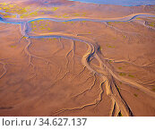 Patterns in the tidal  flats of the Colorado River Delta where the delta is swept by tidal encroachment from the Gulf of California. Colorado River Delta... Стоковое фото, фотограф Jack Dykinga / Nature Picture Library / Фотобанк Лори