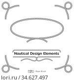Rope design elements. Frame for text of marine theme. Template for nautical design. Sea speech bubble. Vector. Стоковая иллюстрация, иллюстратор Dmitry Domashenko / Фотобанк Лори