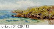 Brett John - Fermain Bay Guernsey - British School - 19th Century. Стоковое фото, фотограф Artepics / age Fotostock / Фотобанк Лори
