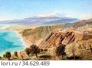 Brett John - Mount Etna from Taormina Sicily - British School - 19th... Стоковое фото, фотограф Artepics / age Fotostock / Фотобанк Лори