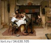 Brooker Harry - a Close Game - British School - 19th Century. Стоковое фото, фотограф Artepics / age Fotostock / Фотобанк Лори