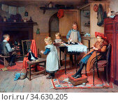 Brooker Harry - Afternoon Tea - British School - 19th Century. Стоковое фото, фотограф Artepics / age Fotostock / Фотобанк Лори
