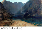 Burns Robert - the Valley of the Shadow Loch Coruisk - British School... Стоковое фото, фотограф Artepics / age Fotostock / Фотобанк Лори