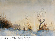 Burns Robert - Sunrise over Snow - British School - 19th Century. Стоковое фото, фотограф Artepics / age Fotostock / Фотобанк Лори