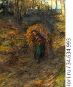 Cameron Hugh - Fern Gatherer - British School - 19th Century. Стоковое фото, фотограф Artepics / age Fotostock / Фотобанк Лори