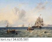 Carmichael John Wilson - Shipping off Whitby - British School - 19th... Стоковое фото, фотограф Artepics / age Fotostock / Фотобанк Лори
