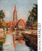Ellis Tristram James - Bruges - British School - 19th Century. Стоковое фото, фотограф Artepics / age Fotostock / Фотобанк Лори