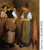 Courbet Gustave - Courbets Schwestern Beim Tratschen - French School... Стоковое фото, фотограф Artepics / age Fotostock / Фотобанк Лори