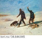 Courbet Gustave - Jager Beim Training Der Jagdhunde Bei Ornans - ... Стоковое фото, фотограф Artepics / age Fotostock / Фотобанк Лори