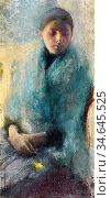 Dagnan-Bouveret Pascal Adolphe Jean - Jeune Fille En Bleu - French... Стоковое фото, фотограф Artepics / age Fotostock / Фотобанк Лори
